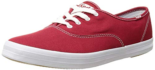 Keds Women's Champion Original Canvas Lace-Up Sneaker, Red, 8 M US -  044209535802