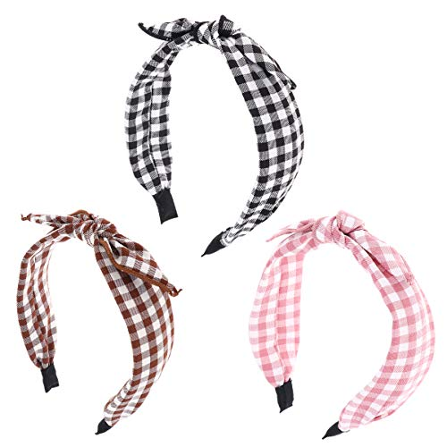 Minkissy 3Pcs Bowknot Hair Hoop Bow Tie Headband Bunny Ears Headbands for Washing Face Makeup Spa Shower (Pink, Black, Brown)
