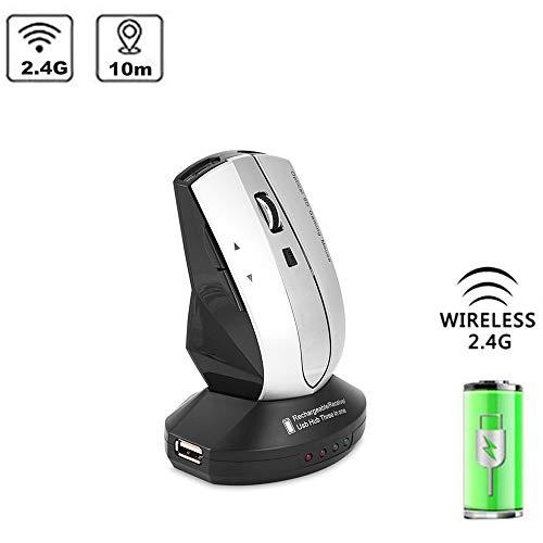 Draadloze muis, 2,4 GHz oplaadbare draadloze optische muis, gamingmuizen met laadstation, 3-poorts USB-hub, 800 - 1200 DPI instelbaar, plug & play (grijs)