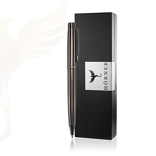 HÖRNER URBAN - Hochwertiger Kugelschreiber I G2 Mine I Schwarz Silber aus Metall I in edler Geschenkbox I Strichstärke M 1 mm