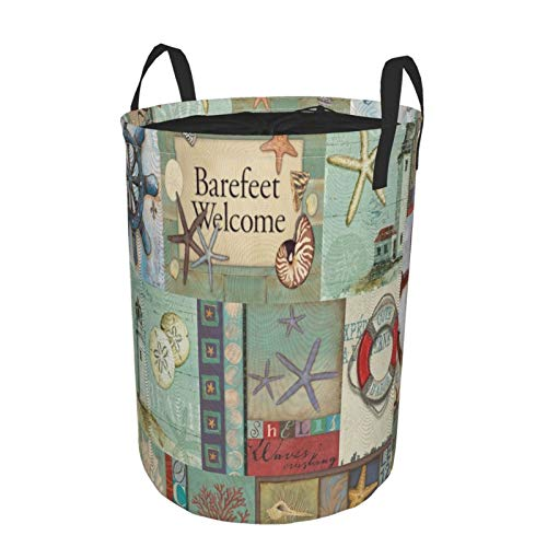 Collapsible Laundry Dirty Clothes HamperNavigation Vintage Marine Anchor Ship Helm Lighthouse Starfish LifebuoyLarge Capacity with Drawstring Storage Bin for Family Waterproof Home Decor14 x 19in