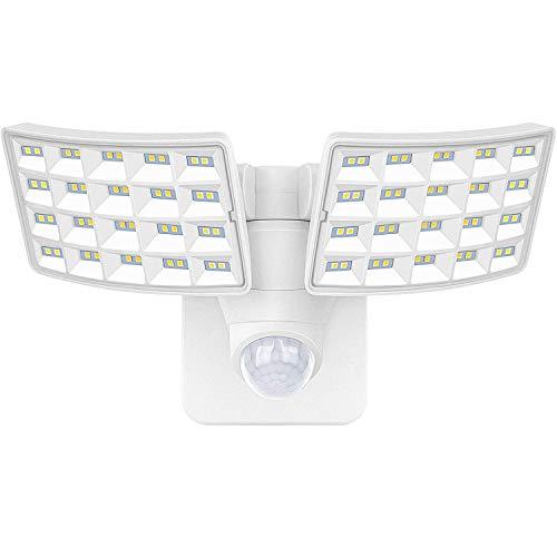 LUOWAN LED Strahler mit Bewegungsmelder Außen 20W Außenstrahler 5000K Led Aussenleuchte mit 2 verstellbaren Köpfen IP65 Wasserdicht Sicherheitslicht Flutlichtstrahler für Garten Garage Terrasse Hof