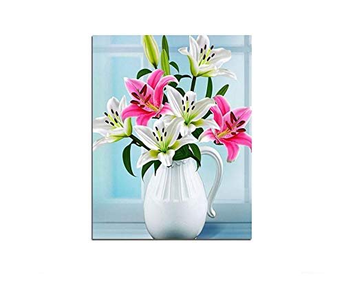 Alesx bloemen lelies in vaas doe-het-zelf canvas olieverf volgens aantal modulaire muur woning 40x50cm Rahmenlos 40 x 50 cm, zonder lijst.