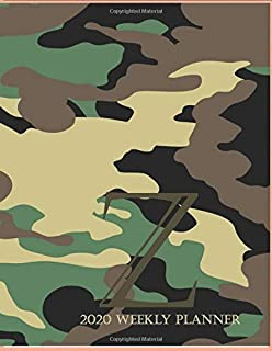 """2020 Weekly Planner Z: This camouflage multi-Color Monogrammed """"Z"""", 8.5"""" x 11"""" one page monthly, two page weekly with holi..."""