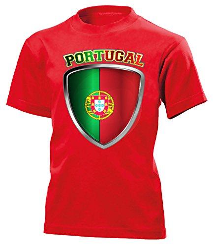 Portugal Fanshirt Fussball Fußball Trikot Look Jersey Kinder Kids Unisex t Shirt Tshirt t-Shirt Fan Fanartikel Outfit Bekleidung Oberteil Hemd Artikel