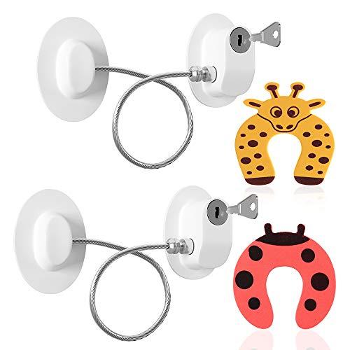 Kindersicherung Fenster Sicherheit,Kühlschrank Türschloss mit Schlüssel Kabel,2 Stücke Adhesive Gefrierschrank Türverriegelun für Baby, Sicherer Kabelverschluss,mit 2 Türstopper Schaumstoff