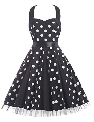 GRACE KARIN® Donne 1950 Vintage con allacciatura al collo di Polka Dots Casual Cocktail Vestito (M, Stile 2-3#)