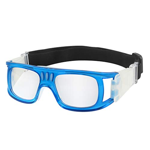 GGBuy Outdoor-Sport-Brille mit verstellbarem elastischem Riemen, Sicherheitsbrille für Kinder, Erwachsene, Jugendliche, Basketball, Golf, Rugby, Fußball L Erwachsenen_blau