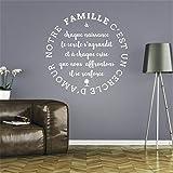 stickers muraux phrases pas cher Notre famille est l'amour du salon