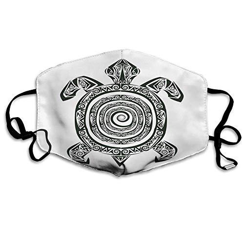 Bequeme Winddichte Maske, Schildkröte, Maori-Tätowierungsart des Meerestierstammes Spiralform tropisch, Schwarzweiss