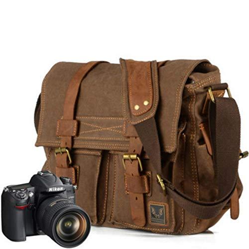 Yi-xir Fashion Design Luxury Cowboy Genuine Borsa per fotocamera Oilskin esclusiva pelle impermeabile Borsa a tracolla in tela Canotta interna DSLR fotocamera Messenger Bag Leggero e resistente