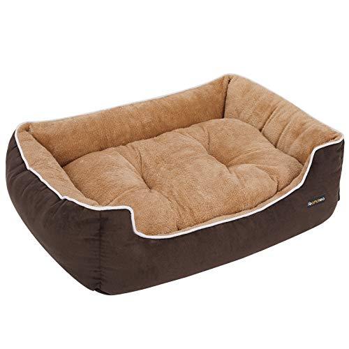 FEANDREA Cama para Perros, Sofá para Perros, Cesta para Perro, con Cojín Extraíble, 90 x 75 x 25 cm, Marrón y Beige PGW06YC