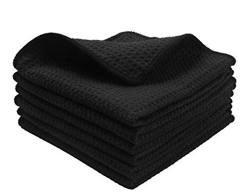 KinHwa Mikrofaser-Reinigungstücher Super Weiche Reinigungstücher Waschbar Saugstark Umweltfreundlich Reißfest Mikrofasertücher 30CM x 30CM 6 Stück (Schwarz, 30cmx30cm)