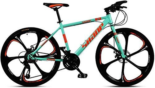 XinQing Bike 24 Inch Mountain Bikes, Dual Disc Brake Hardtail Mountain Bike, Mens Women High-Carbon Steel All Terrain Alpine Bicycle (Color : 21 Speed, Size : Blue 6 Spoke)