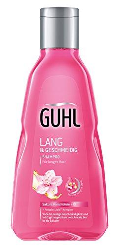 Guhl Lang und Geschmeidig Shampoo - 2er Pack (2 x 250 ml) - mit Sakura Kirschblüte und Öl - kräftigt langes Haar vom Ansatz an