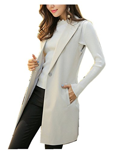 CYSTYLE Damen Lang Weste Ärmellos Jacke Dünn Mantel mit Taschen Reverskragen (EU L=Asia XL, Weiß)