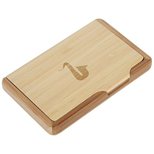 Saxophone Bamboo Business Card Holder with Laser Engraved Design - Business Card Keeper - Holds Up to 10 Cards - Lightweight Calling Card Case
