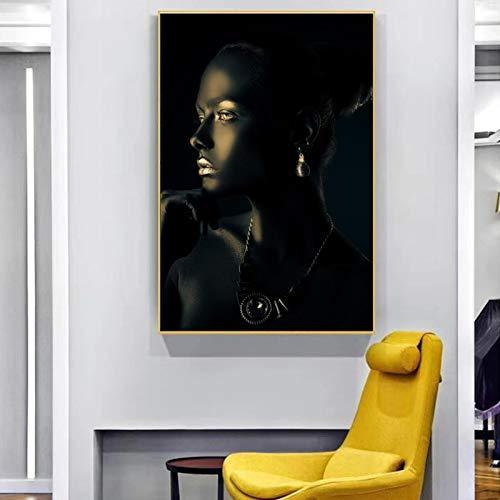 Mujer con piel perfecta y pintura de joyas de diamantes en lienzo, carteles e impresiones, imágenes artísticas de pared para la decoración de la pared de la sala de estar-40x60cm sin marco