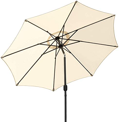 MVPower Parasol, Diameter 270 cm, Tilt Umbrella, Round Garden Parasol, Patio Parasol with Crank, Sun Protection, Outdoor, for Garden, Balcony and Patio, UV50 + Beige