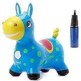 NC Animales Hinchables Caballo para Saltar Bomba Inflable Incluida Caballo Inflable Caballo de Salto para Niños con el Mejor Caucho Ecológico (Azul)