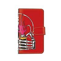 [bodenbaum] ZenFone Max Pro M2 ZB631KL 手帳型 スマホケース カード スマホ ケース カバー ケータイ 携帯 ASUS エイスース ゼンフォン マックス プロ エムツー SIMフリー 骸骨 ライター バイカラー d-383 (C.レッド)