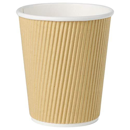 Bionatic Spain Vaso para Cafe, Carton Kraft Ondulado marrón ecológico, Biodegradable y sostenible, Ideal para Fiestas, picinic, barbacoas, Catering y Eventos 200 ml. 25 Unidades