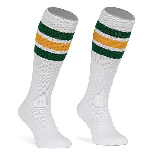 skatersocks 22 Inch Tube Socks weiß grün gelb gestreift Skater Socken für Damen & Herren mit Streifen
