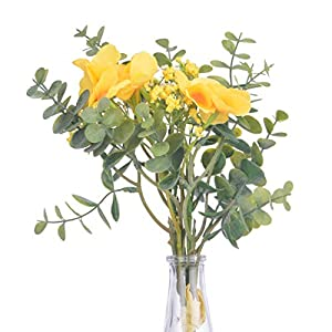 Anna Homey Decor Silk Fake Orchids Flowers with Yellow Babys Breath/Gypsophila Artificial Flowers Spring Flowers Bouquet Fake Plants for Wedding Home Kitchen Bridal DIY Decoration,1PCS Fake Floral