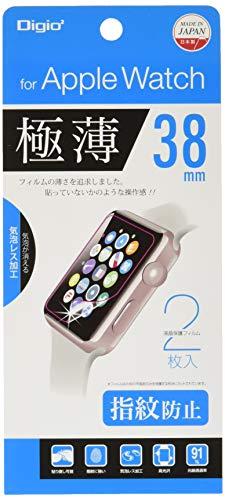 Apple Watch 38mm 用 フィルム 2枚入り 極薄 指紋防止 気泡レス加工 SMW-AW381FLST