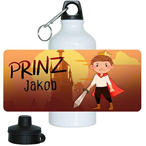 Eurofoto Trinkflasche Set mit Namen Jakob und Motiv mit Prinz und Burg für Jungen | Motiv-Trinkflasche | Kinder-Aluflasche
