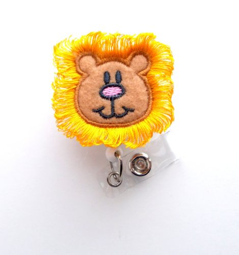 Harry The Lion - Cute Badge Reel - Nurses Badge Holder - Felt Badge Holder - Nursing Badge Holder - Cute Badge Reel - RN Badge Reel - Nurse