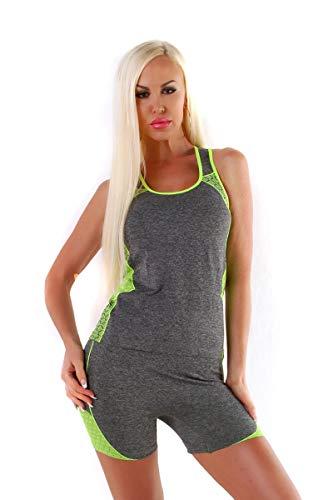 OSAB-Fashion 11356 Kurzer Damen Jogginganzug Tanktop Hose Joggpants Fitness Sport Anzug Neon