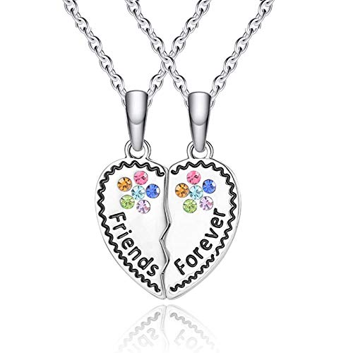 Cheerslife BFF Friendship Necklace for 2 Best Friends Necklace Girls Heart Broken Friendship Girls Gift Set, Charm Engraved Letters Jewelry, 18'