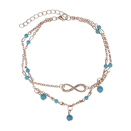 Chaîne pour cheville Everpert - Style bohême - Plusieurs rangs - Motif infini - Couleur : turquoise - Cadeau idéal