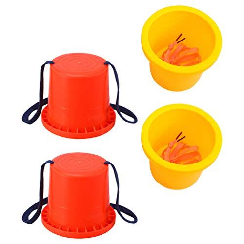 BESPORTBLE 2 Pares de Zancos de Cubo de Plástico de Juguete Paso a Paso para Niños Tazas de Zancos para Niños Juguete de Equilibrio Amarillo Rojo