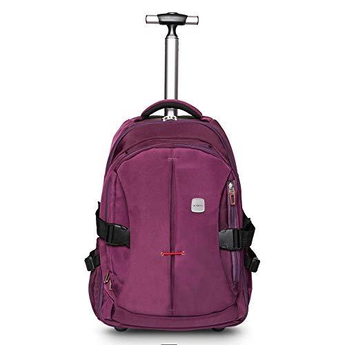 WEISHENG 19 Zoll Laptop Rucksack Trolley Roll Rucksack für Kinder und Geschäftsreisen, Handgepäck, Schultasche,mit viel Stauraum für Schule und Reisen,lila