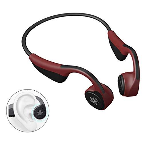 HWUKONG Knochenleitung Kopfhörer, Kopfhörer Drahtloser Bluetooth-Sport-Kopfhörer, Stereo Sweatproof Sport-Kopfhörer Mit Mikrofon Für iPhone Samsung Galaxy Und Alle Android,Rot