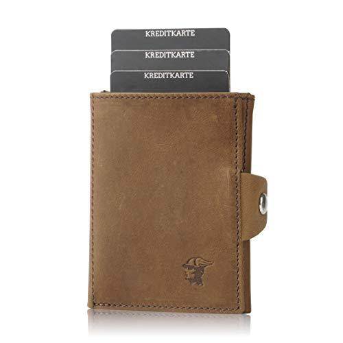 ETAVI® Slim Wallet mit Münzfach [12 Karten] Slim Wallet Taipeh [RFID-Schutz] Kartenetui mit Münzfach für Herren [Leder] Smart Wallet für Männer und Damen