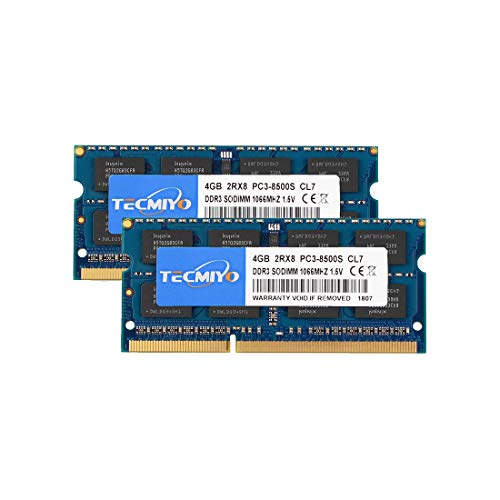 TECMIYO 8GB Kit(2X4GB) PC3-8500S DDR3 1066MHz/1067MHz Sodimm 2RX8 Dual Rank 204 Pin...
