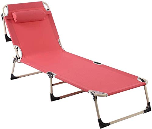 Portable Folding Outdoor Camping Sunlounger, Breathable Soft Oxford Fabric Beach Patio Recliner Lounge Chair Bed, 4 Level Adjustable Beach Garden Poolside Rest Recliner with Soft Removeable Pillow Red