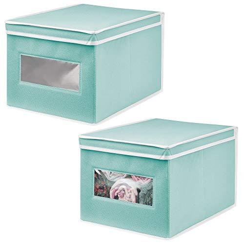 mDesign Set da 2 Organizer Armadio con Coperchio e Finestra – Capienti scatole per armadi perfette per la Camera dei Bambini – Contenitori portaoggetti – Turchese/Bianco