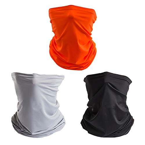 Seamless Neck Gaiter Face Cover Scarf Bandanas for Men Women Dust and Sun Protection 3 Pack (Black/Grey/Orange)
