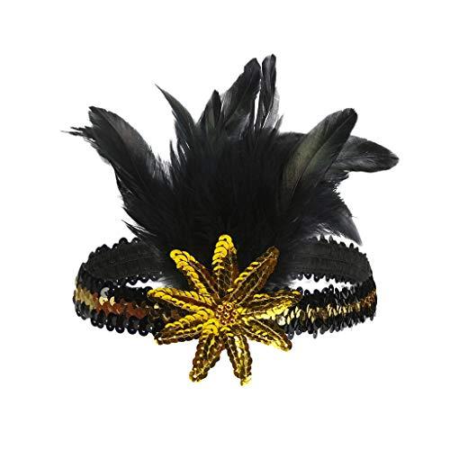 Kopfbedeckung für Damen Hochzeit Headpiece Flapper Feather Stirnband mit Pailletten Prom Party Bankett Tragen(Gelb,free)