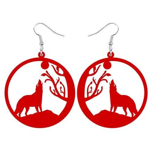 ESIVEL Acrílico Big Roung Circle Hollow Wolf Moon Tree Branch Pendientes Drop Dangle Jewelry Para Mujeres Teen Girl Kid Decoraciones Regalo Rojo