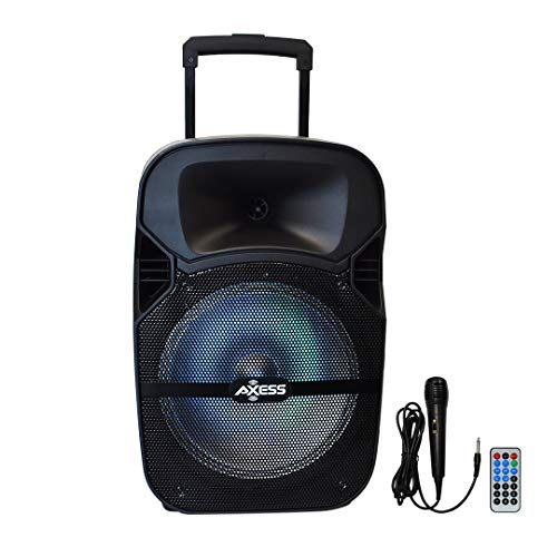 Axess PABT6007 Bluetooth Trolley PA Loud Speaker, Party Speaker Disco Lights, Bass-Treble Control, Remote