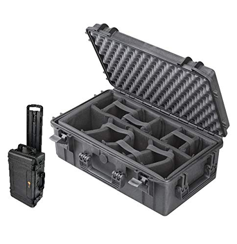 Elephant EL2007WP Case with Padded Dividers Waterproof IP67 Carry-on Hard Waterproof case with Wheels and Telescopic Handle