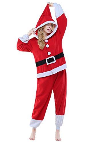 CANASOUR Unisex Adult Anime Pajamas - Plush One Piece Christmas Cosplay Costumes (Small, Santa Claus Red)