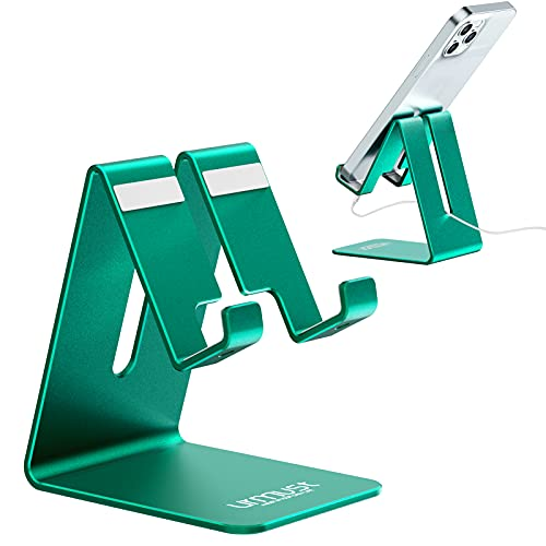 Urmust Cell Phone Stand Desk Phone Holder Dock Cradle Stand for iPhone 12 11 Pro Max X Xr 8 Plus 7 6 ,Switch,iPad,Tablet(4-10in) [2021 Updated Version] Green
