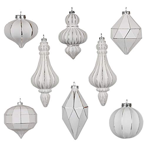Valery Madelyn 8ct Frozen Winter Glass Bauble Christmas Ball Ornaments Silver and White,Themed with Tree Skirt(Not Included)