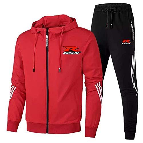 Su-Zuki Gsx-R Chándal De Hombre Traje De Jogging Chaqueta con Capucha + Abrigo De Pantalones,Rojo,M/Medium